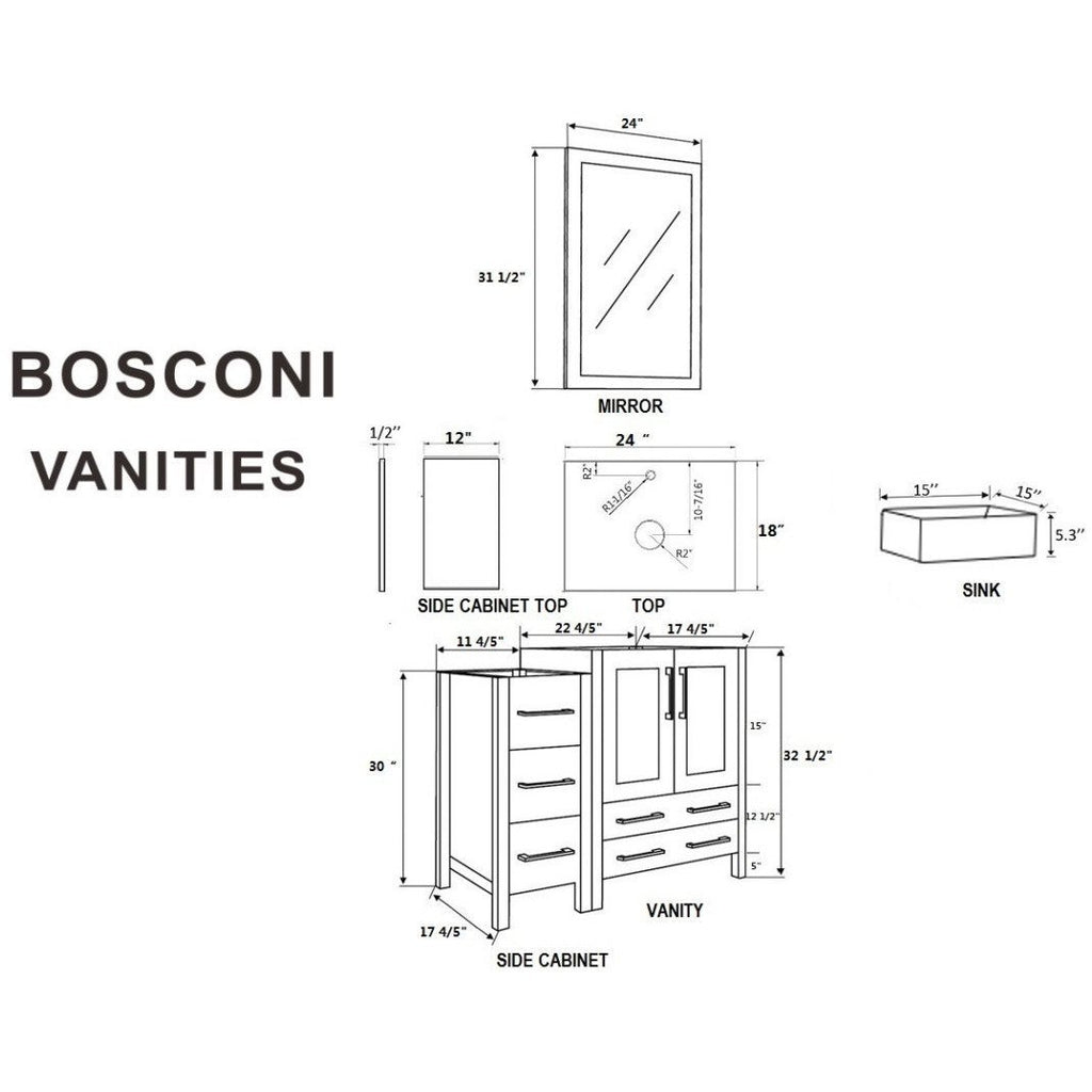 "Bosconi 36"" Single Vanity Bathroom Vanity AW124CBECM1S"