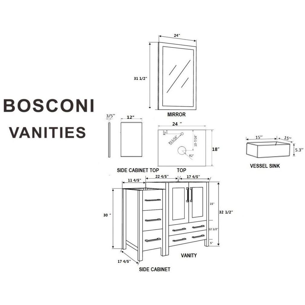 "Bosconi 36"" Single Vanity Bathroom Vanity AW124CBEBG1S"