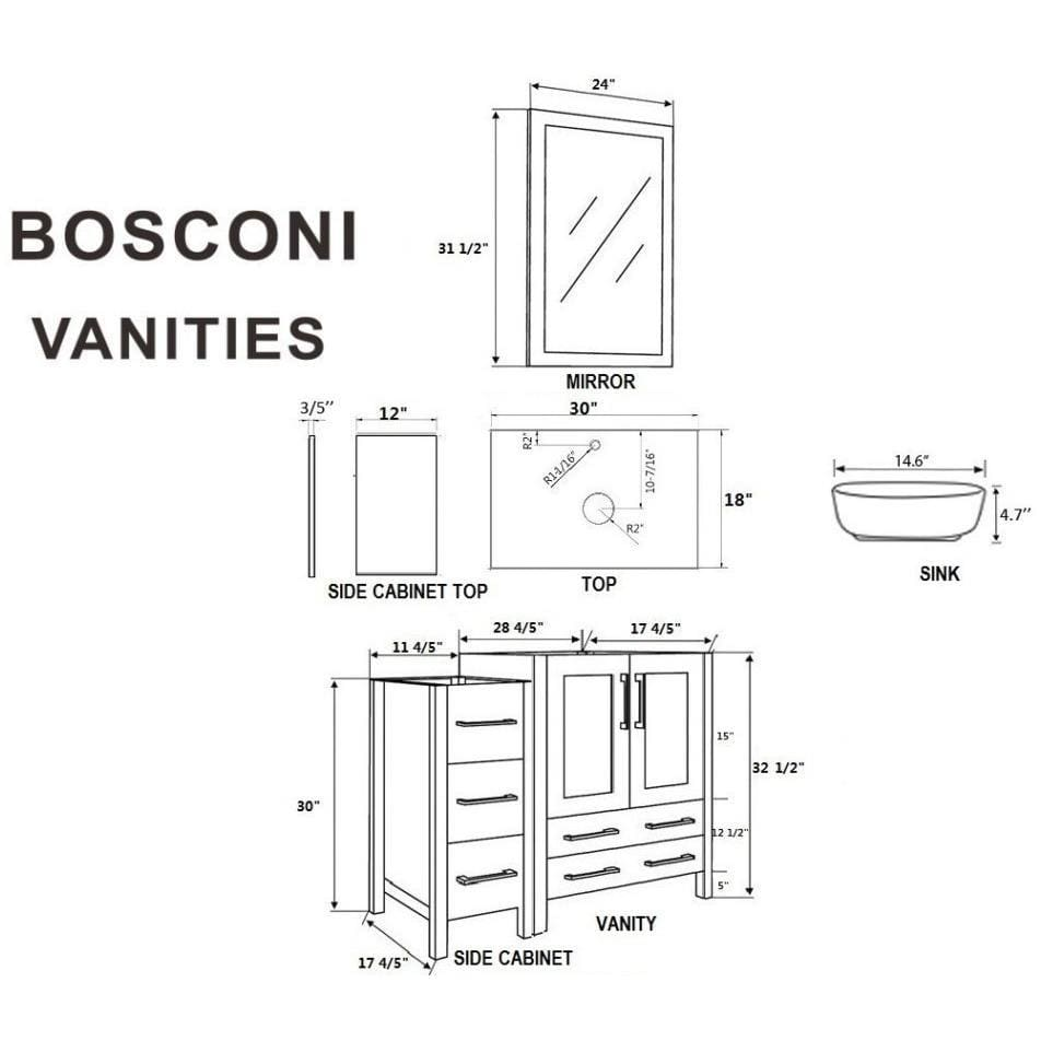 "Bosconi 84"" Double Vanity Bathroom Vanity AW230BWLBG2S"