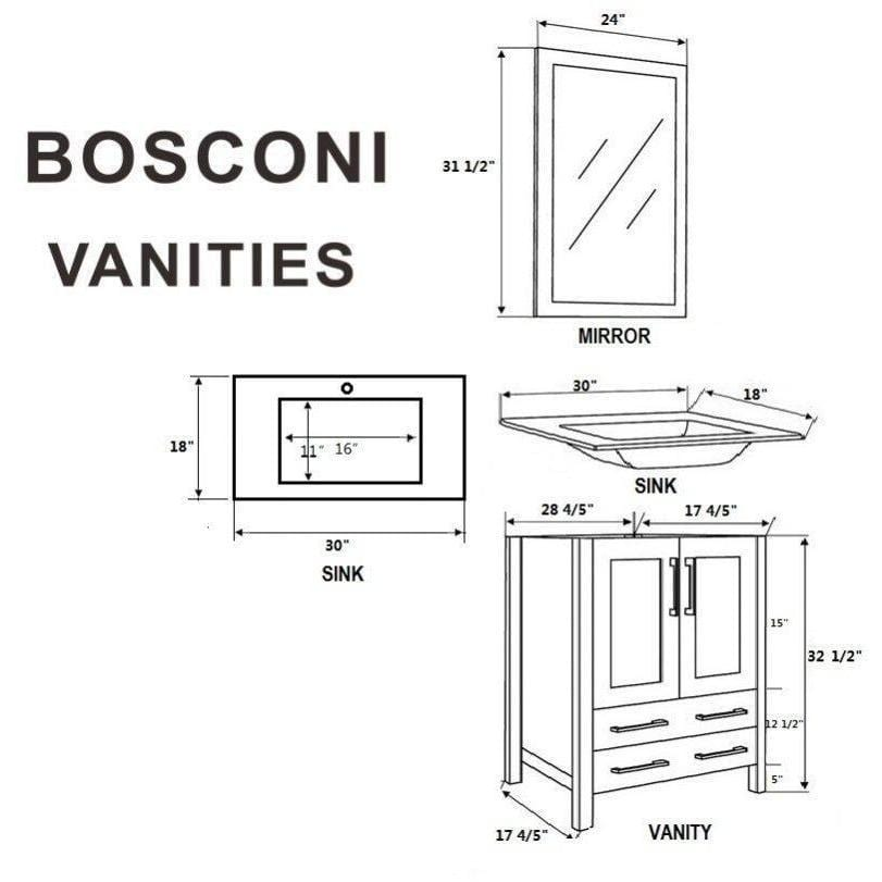 "Bosconi 60"" Double Vanity Bathroom Vanity AW230U"