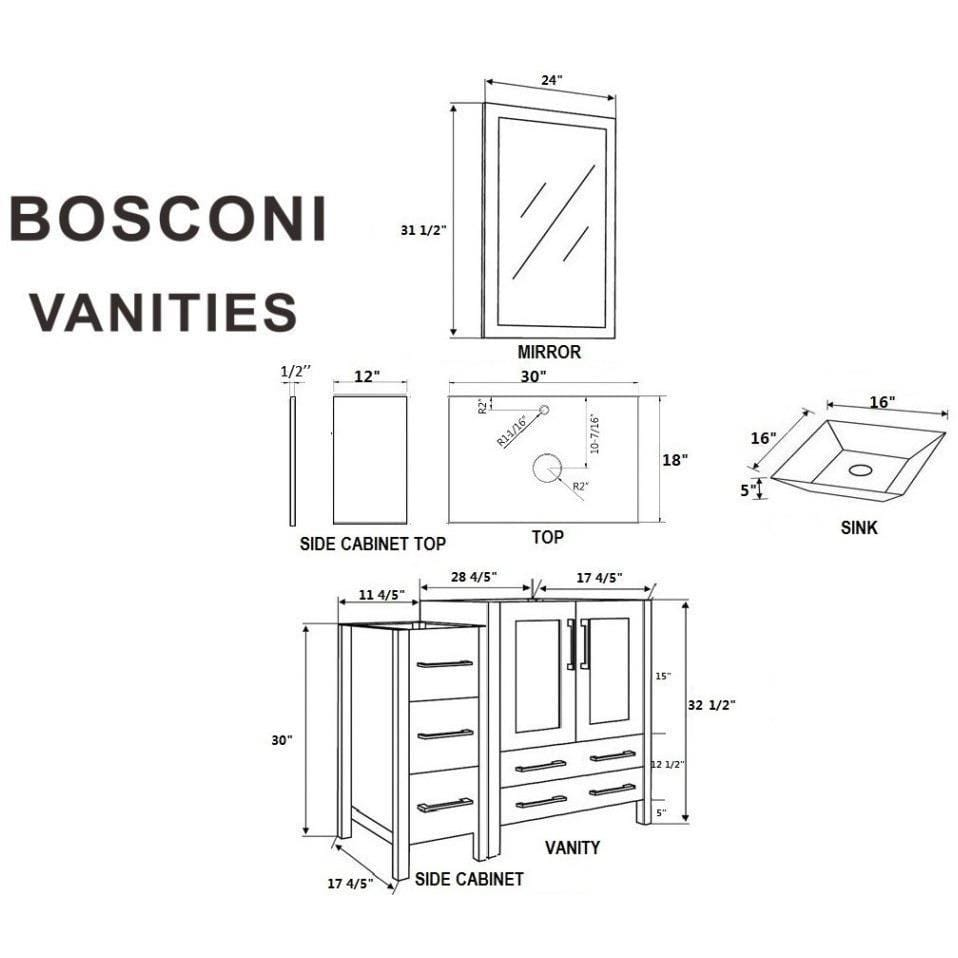 "Bosconi 84"" Double Vanity Bathroom Vanity AW230SQCM2S"