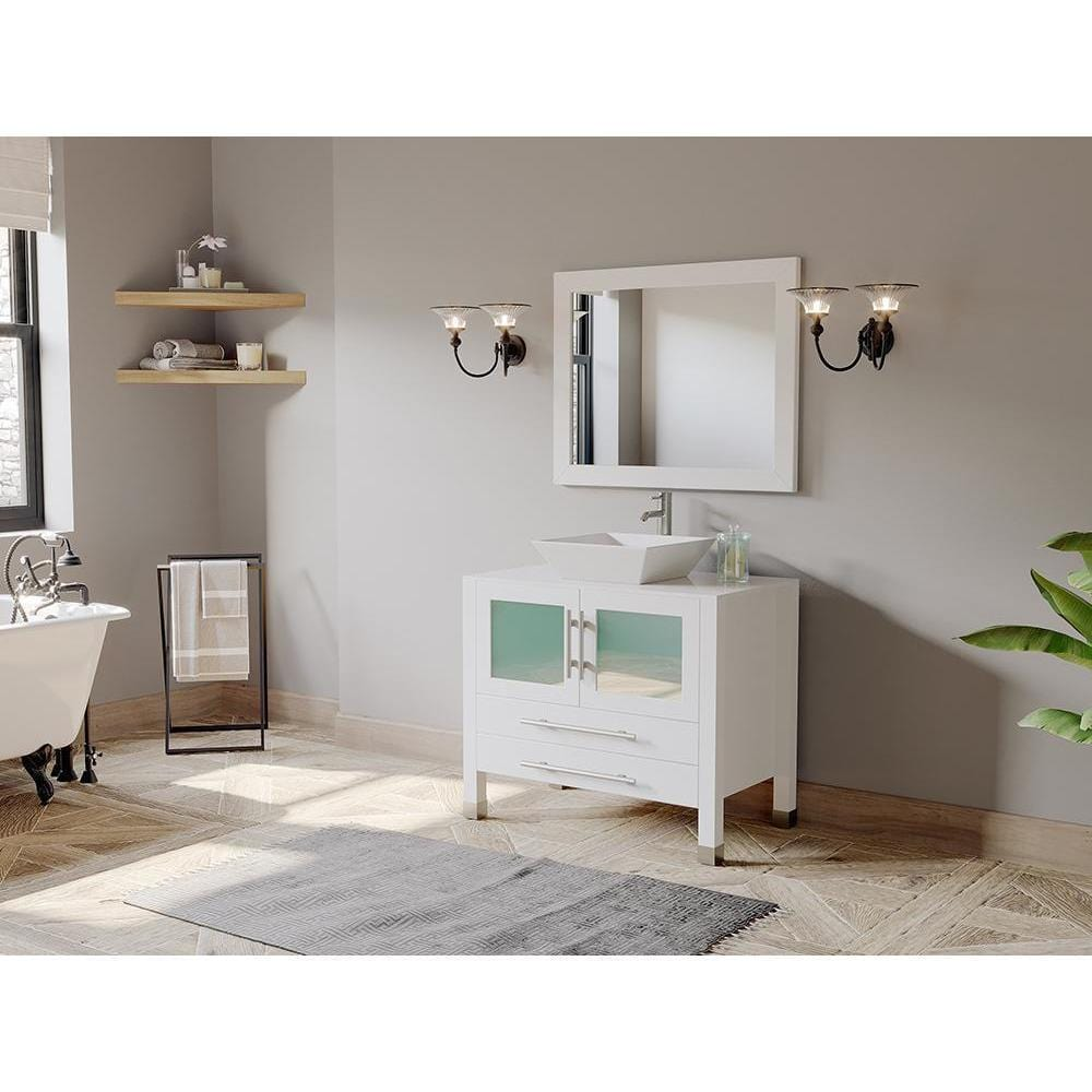 "Cambridge Plumbing 36"" Single Sink Bathroom Vanity Set 8111W"