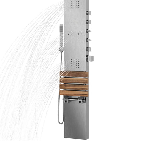 PULSE ShowerSpas Oahu Matte Brushed Stainless Steel Shower Panel 1035