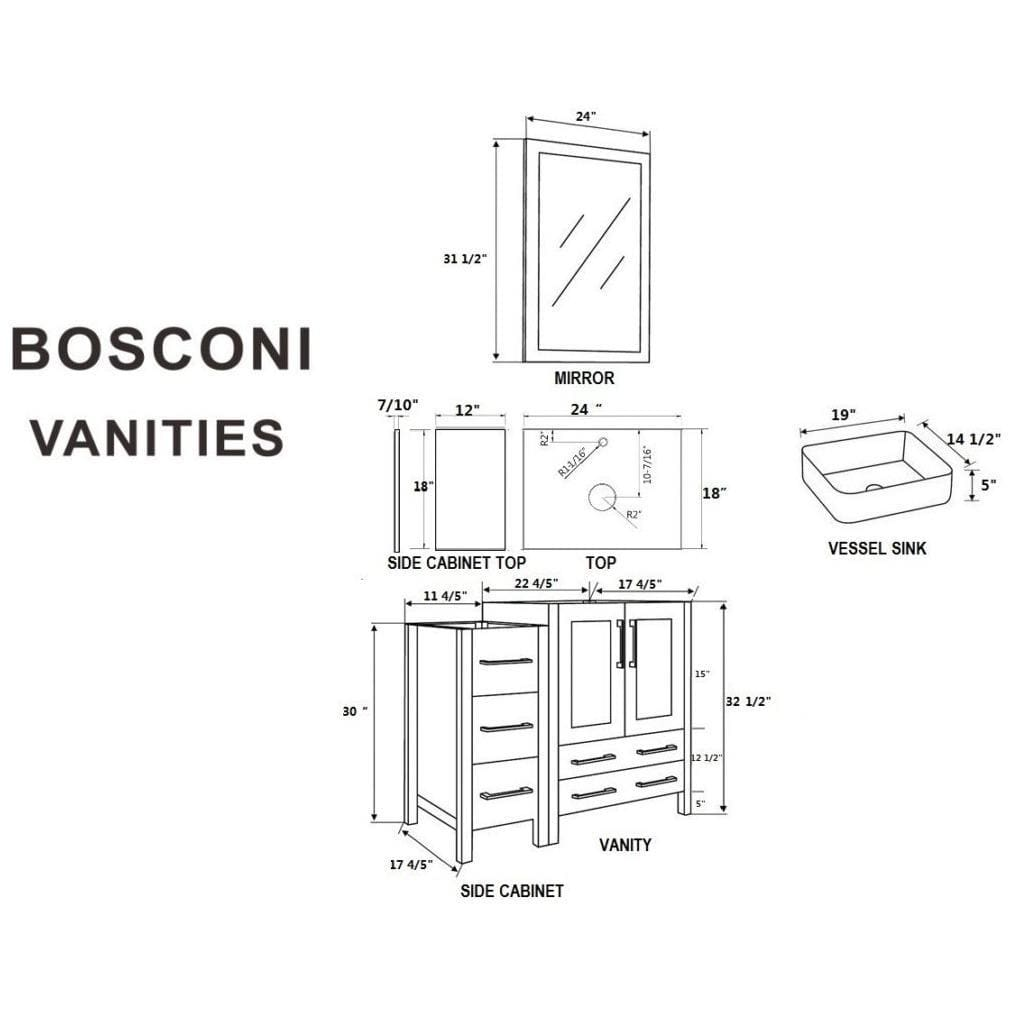 "Bosconi 72"" Double Vanity Bathroom Vanity AW224RC2S"