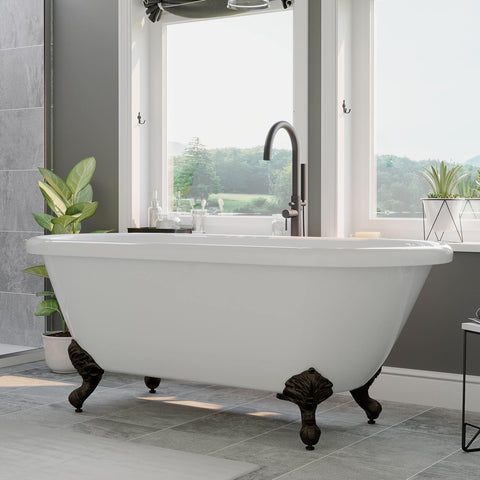 "Cambridge Plumbing Acrylic Double Ended Clawfoot Bathtub 70"" X 30"" ADE-150"