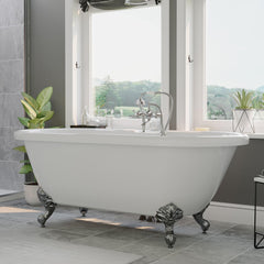 "Cambridge Plumbing Acrylic Double Ended Clawfoot Bathtub 70"" X 30"" ADE-463D-6"