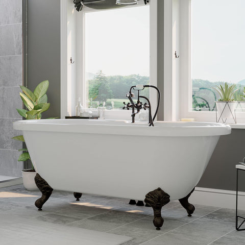 "Cambridge Plumbing Acrylic Double Ended Clawfoot Bathtub 60"" X 30"" ADE60"