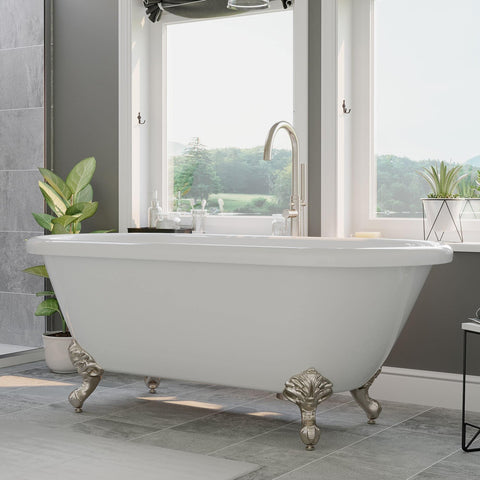 "Cambridge Plumbing Acrylic Double Ended Clawfoot Bathtub 60"" X 30"" ADE60-150"