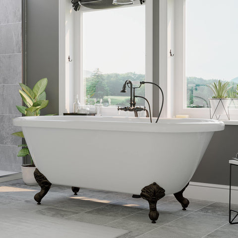 "Cambridge Plumbing Acrylic Double Ended Clawfoot Bathtub 60"" X 30"" ADE60-398684"