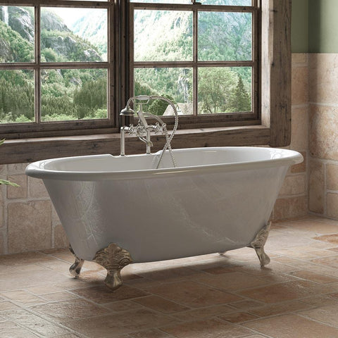 "Cambridge Plumbing Cast Iron Double Ended Clawfoot Bathtub 60"" X 30"" DE60"