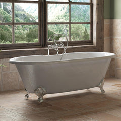 "Cambridge Plumbing Cast Iron Double Ended Clawfoot Bathtub 67"" X 30"" DE-67"
