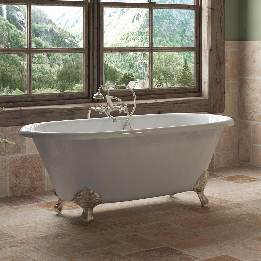 "Cambridge Plumbing Cast Iron Double Ended Clawfoot Bathtub 60"" X 30"" DE60-398463"