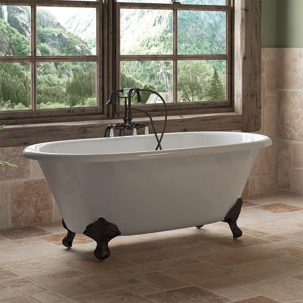 "Cambridge Plumbing Cast Iron Double Ended Clawfoot Bathtub 60"" X 30"" DE60-398684"
