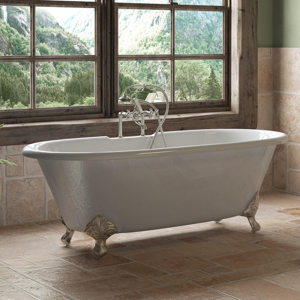 "Cambridge Plumbing Cast Iron Double Ended Clawfoot Bathtub 67"" X 30"" DE67-463D-6"