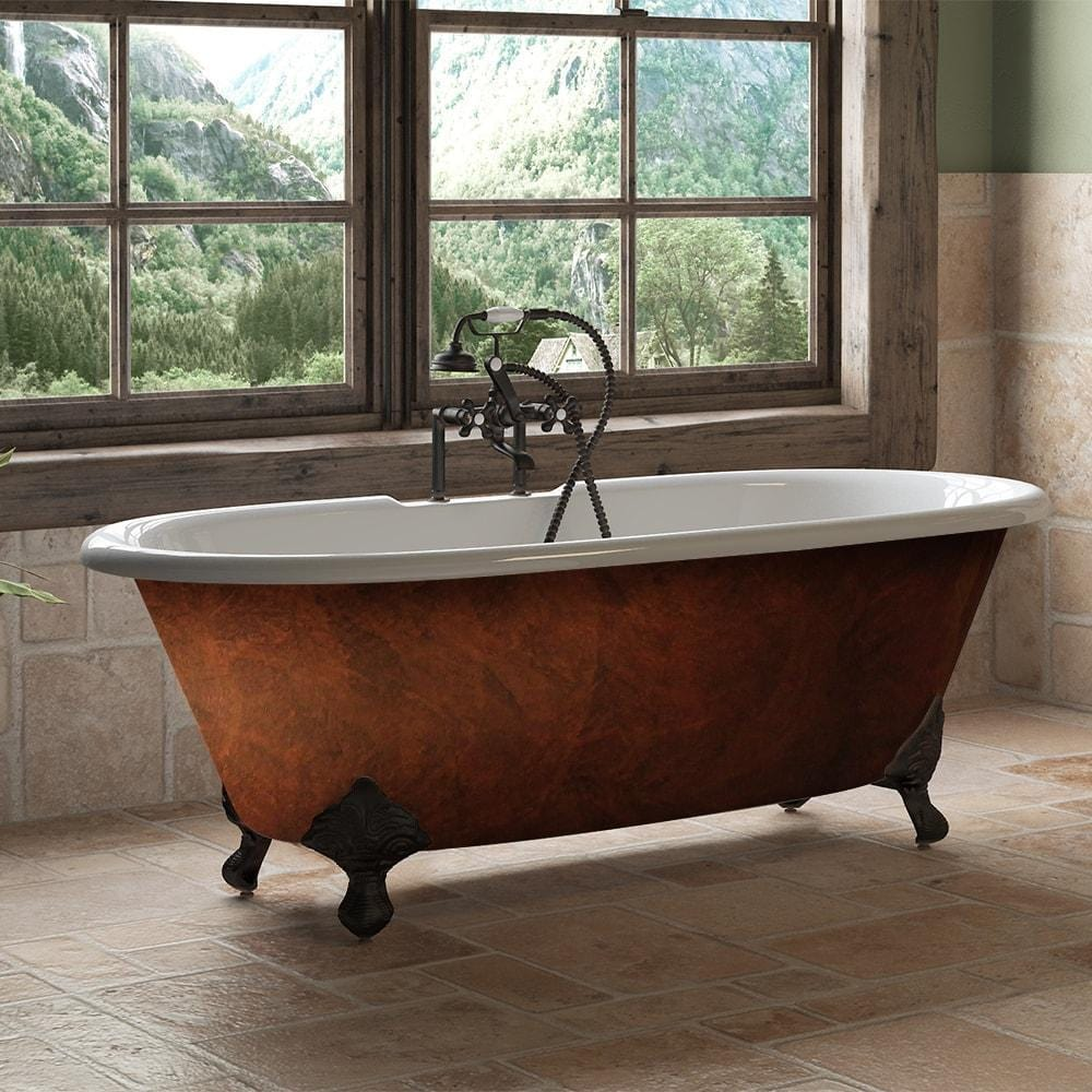 "Cambridge Plumbing Cast Iron Double Ended Clawfoot Bathtub 67"" X 30"" DE67-DH-ORB-CB"