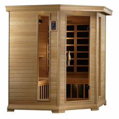 Golden Designs Monte Carlo Elite 4-5 person Corner PureTech™ Near Zero EMF Far Infrared Sauna Canadian Hemlock GDI-6445-01