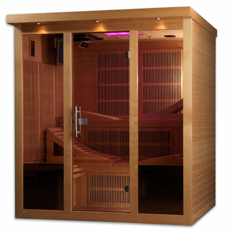 Golden Designs Infrared Saunas Golden Designs Monaco 6-Person Near Zero EMF Far Infrared Sauna Canadian Hemlock