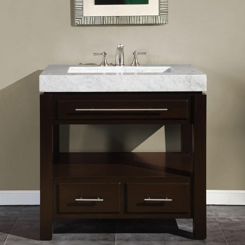 "Silkroad Exclusive 36"" Modern Single Sink Bathroom Vanity HYP-0218-WM-36"