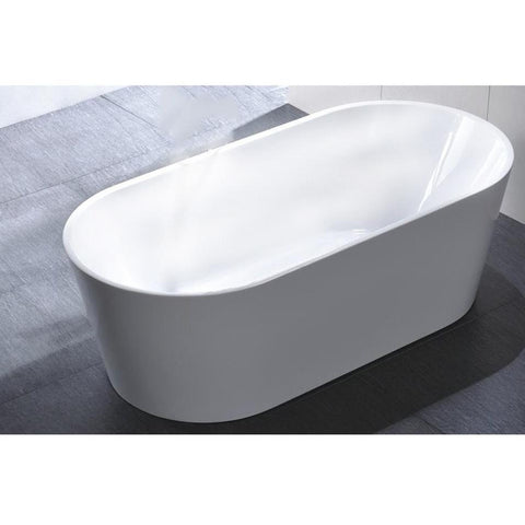 "MTD Vanities Laguna 60"" Modern Freestanding Bathtub in White MTD-LAG-60"