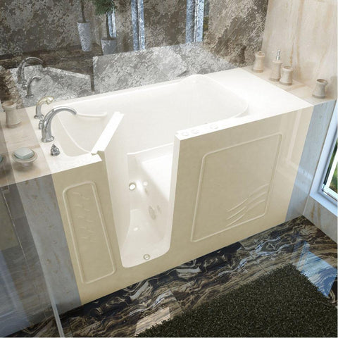 Meditub Walk-In Left Drain Whirlpool-Jetted Biscuit Bathtub 3060WILBH