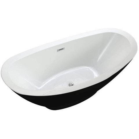 "MTD Vanities Seal 69"" Modern Freestanding Bathtub In Black MTD-SEA-69B"
