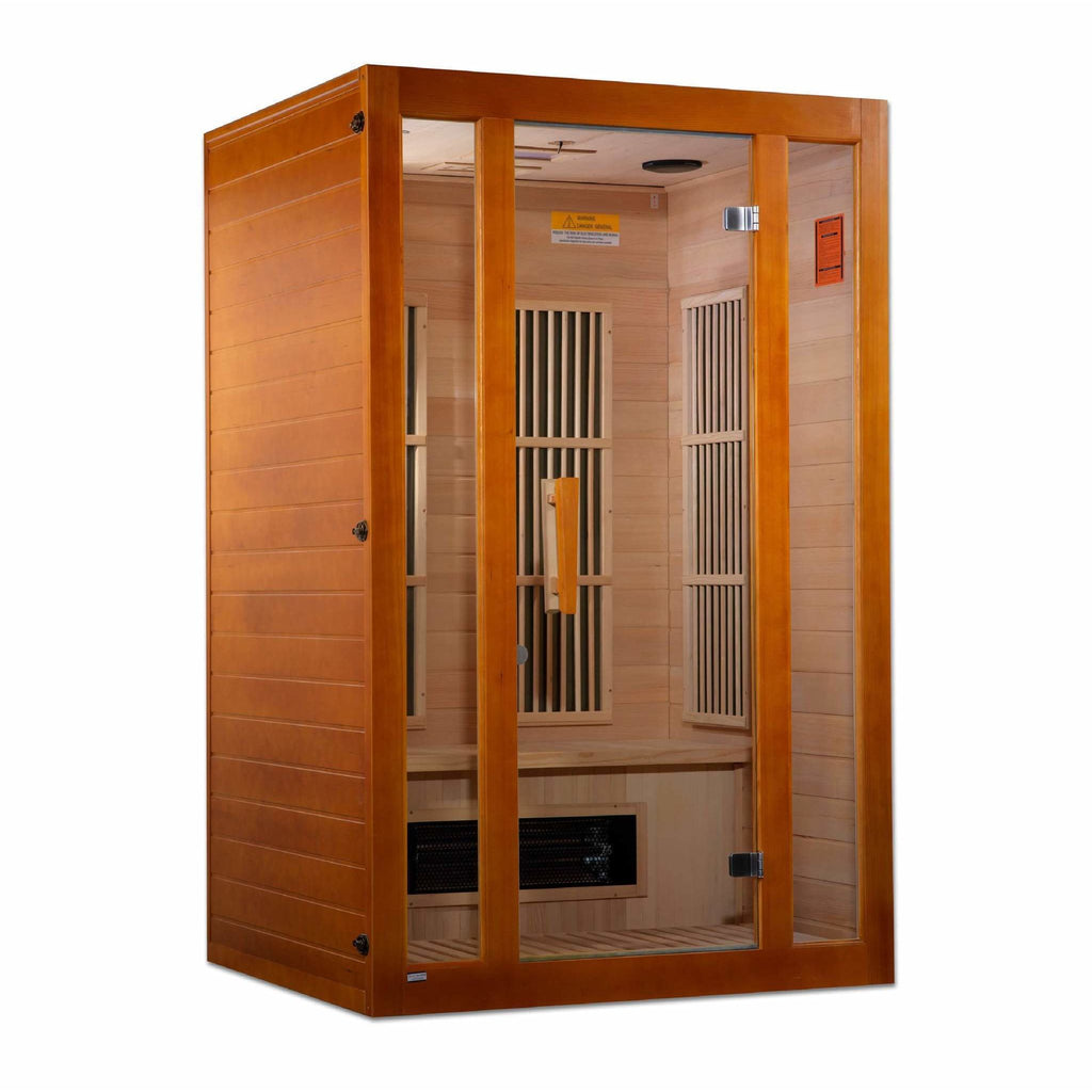 Golden Designs Infrared Saunas Golden Designs Maxxus Aspen Dual Tech -Person Low EMF FAR Infrared Sauna Canadian Hemlock