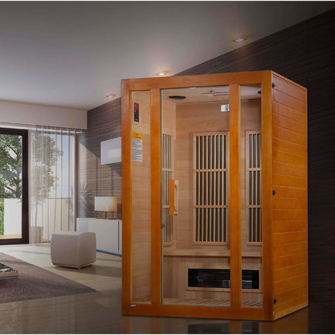 Golden Designs Infrared Saunas Golden Designs Maxxus Aspen Dual Tech 2-Person Low EMF FAR Infrared Sauna Canadian Hemlock