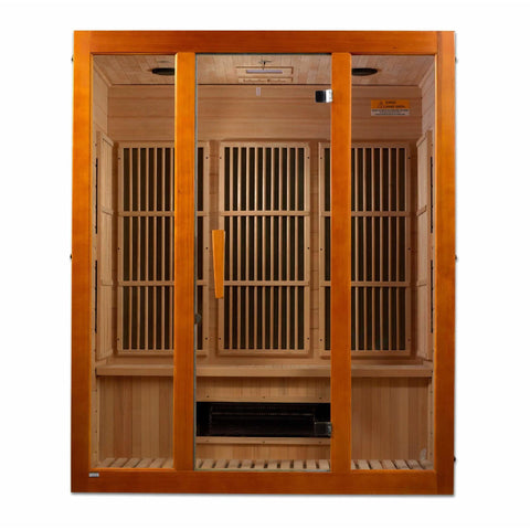 Golden Designs Infrared Saunas Golden Designs Maxxus Alpine Dual Technology 3-Person Low EMF FAR Infrared Sauna Canadian Hemlock