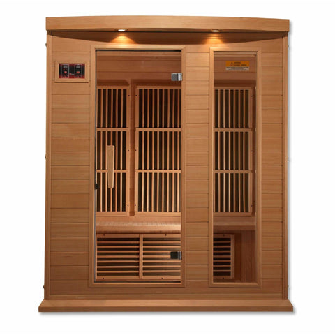 Golden Designs Infrared Saunas Golden Designs Maxxus 3 Per Low EMF FAR Infrared Carbon Canadian Hemlock Sauna