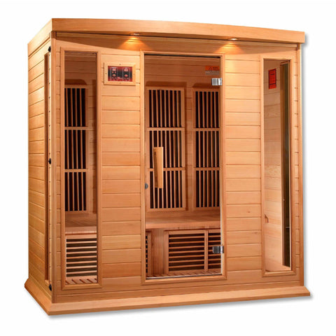 Golden Designs Infrared Saunas Golden Designs Maxxus 4 Per Low EMF FAR Infrared Carbon Canadian Hemlock Sauna