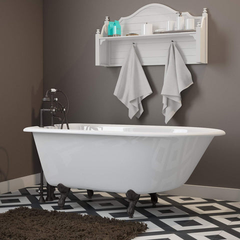 "Cambridge Plumbing Cast-Iron Rolled Rim Clawfoot Bathtub 55"" X 30"" RR55"