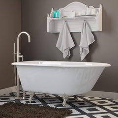 Cambridge Plumbing Cast-Iron Rolled Rim Clawfoot Bathtub 55