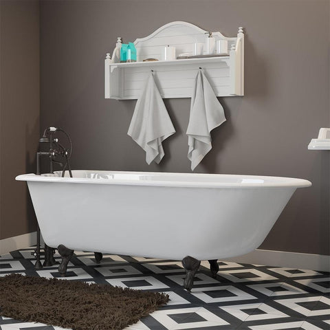 "Cambridge Plumbing Cast-Iron Rolled Rim Clawfoot Bathtub 61"" X 30"" RR61"