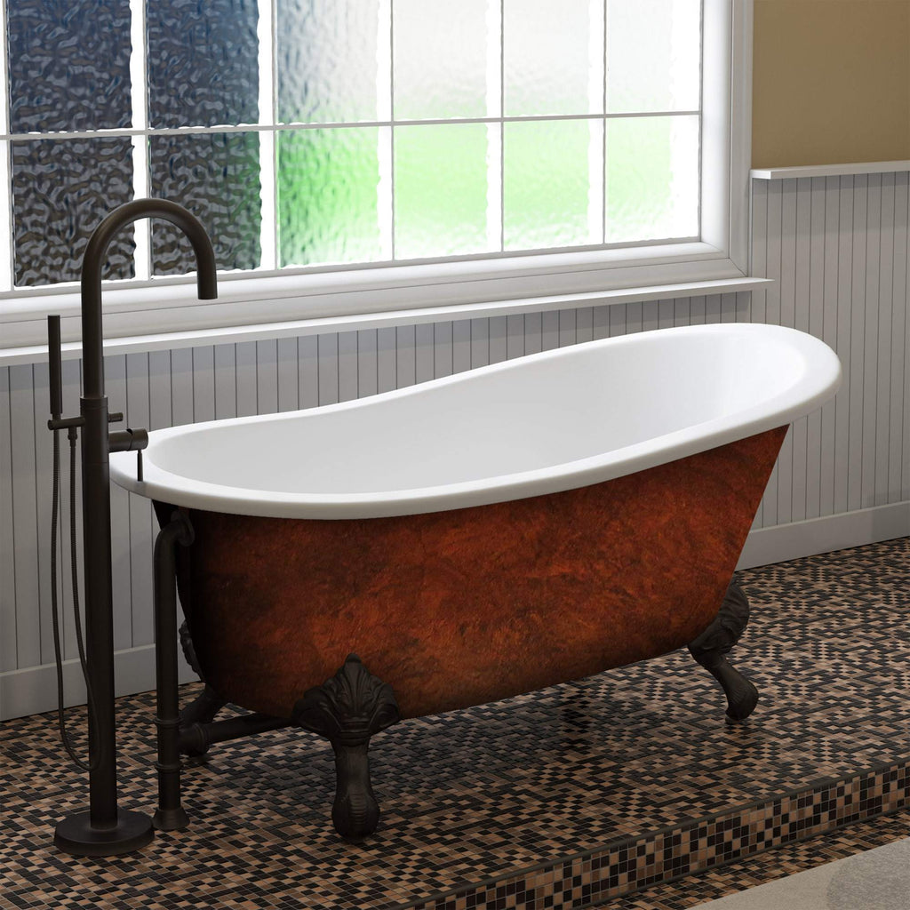 "Cambridge Plumbing Cast Iron Slipper Clawfoot Bathtub 61"" X 30"" ST61-DH-ORB-CB"