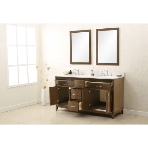 "Legion Furniture 60"" Double Sink Bathroom Vanity in Brushed Nickel WLF7030-60"