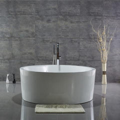 "Legion Furniture 59"" Freestanding Round Bathtub in White WE6810"