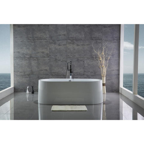 "Legion Furniture 66"" Freestanding Soaking Bathtub in White WE6847"