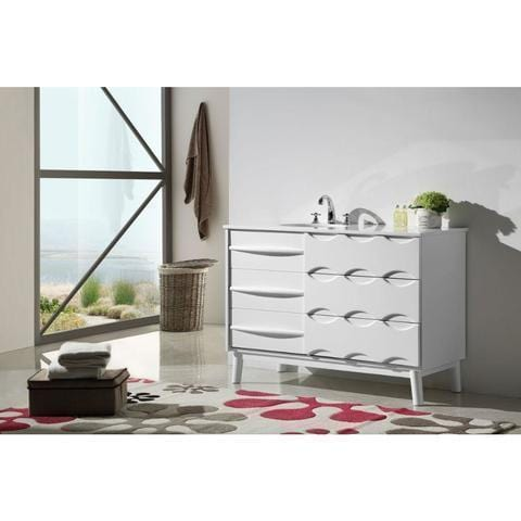 "Legion Furniture 48"" Ceramic Bathroom Vanity in White WH5048"