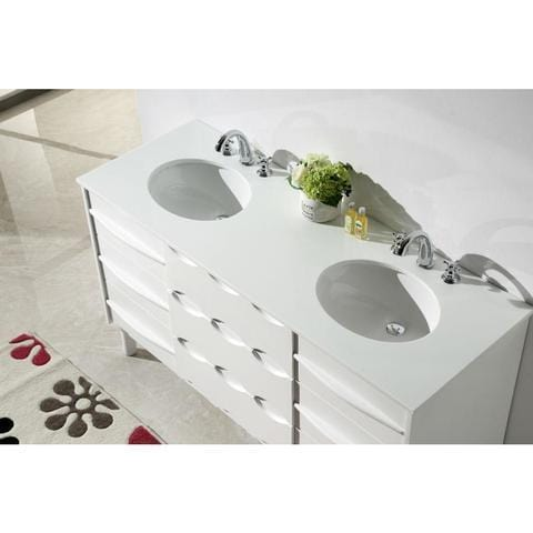 "Legion Furniture 60"" Ceramic Bathroom Vanity in White WH5060"