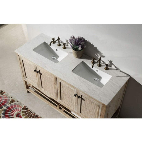 "Legion Furniture 60"" Double Sink Bathroom Vanity in Rustic White WH5160"