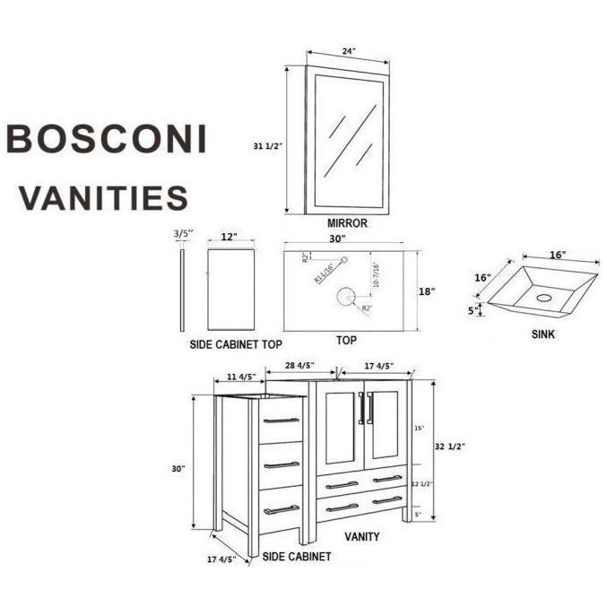"Bosconi 42"" Single Vanity Bathroom Vanitie AB130SQCWG1S"