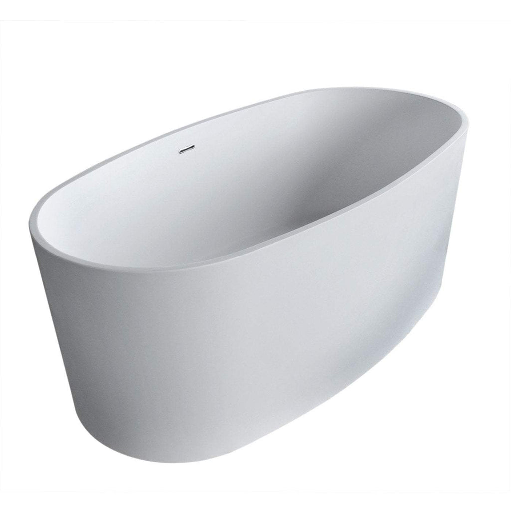 ANZZI Roccia Center Drain Freestanding Bathtub in Matte White FT-AZ505