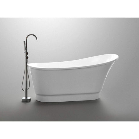 ANZZI Prima Non-Whirlpool Bathtub in White with Kros Faucet in Polished Chrome FTAZ095-0025C