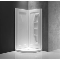 ANZZI Gradient 2-piece Direct-to-Stud Corner Shower Surround in White SW-AZ006WH
