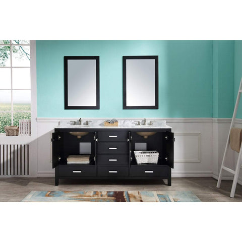 ANZZI Chateau 72 in. W x 36 in. H Bath Vanity in Rich Black V-CHN012-72