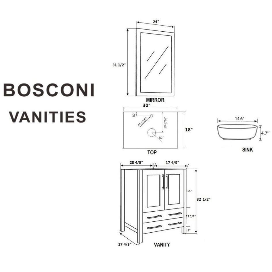 "Bosconi 60"" Double Vanity Bathroom Vanity AW230BWLBG"