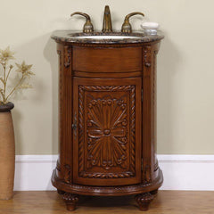 "Silkroad Exclusive 24"" Traditional Single Sink Bathroom Vanity HYP-0135-BB-UIC-24"