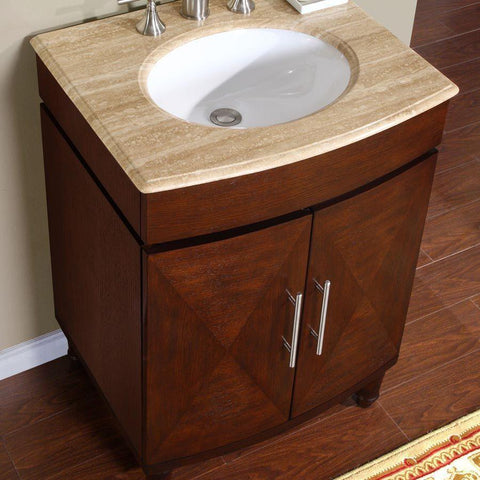 "Silkroad Exclusive 26"" Transitional Single Sink Bathroom Vanity HYP-0220-T-UWC-26"