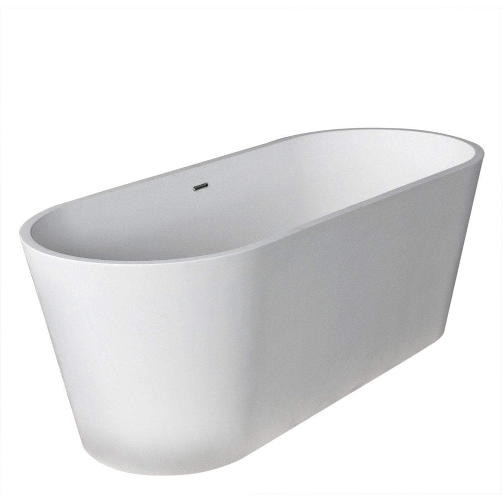 ANZZI Rossetto Center Drain Freestanding Bathtub in Matte White FT-AZ503