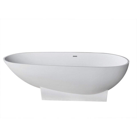 ANZZI Volo Center Drain Freestanding Bathtub in Matte White FT-AZ506